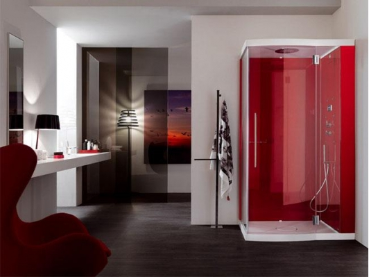 Incorporate Red Into Your Bathroom With A Gorgeous Red Shower.