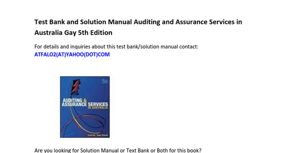 Test Bank Solution Manual Auditing and Assurance Services in ...