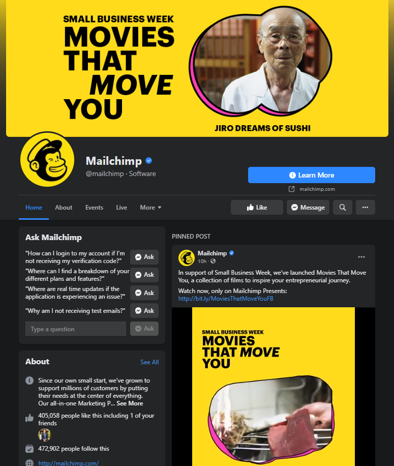 mailchimp facebook page example