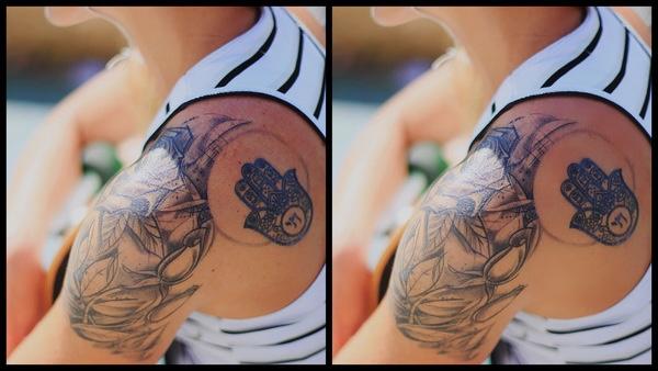 Montagem com 2 fotos da mesma mulher com tatuagem no ombro mostrando o antes e depois da edição.