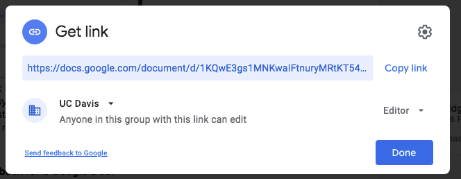 Google Doc sharing setting to give edit permission