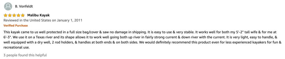 Malibu kayak reviews