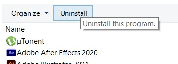 Uninstall button in the Programs and Features window