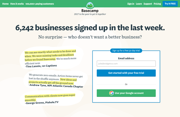 Ejemplos de landing pages exitosas: Basecamp