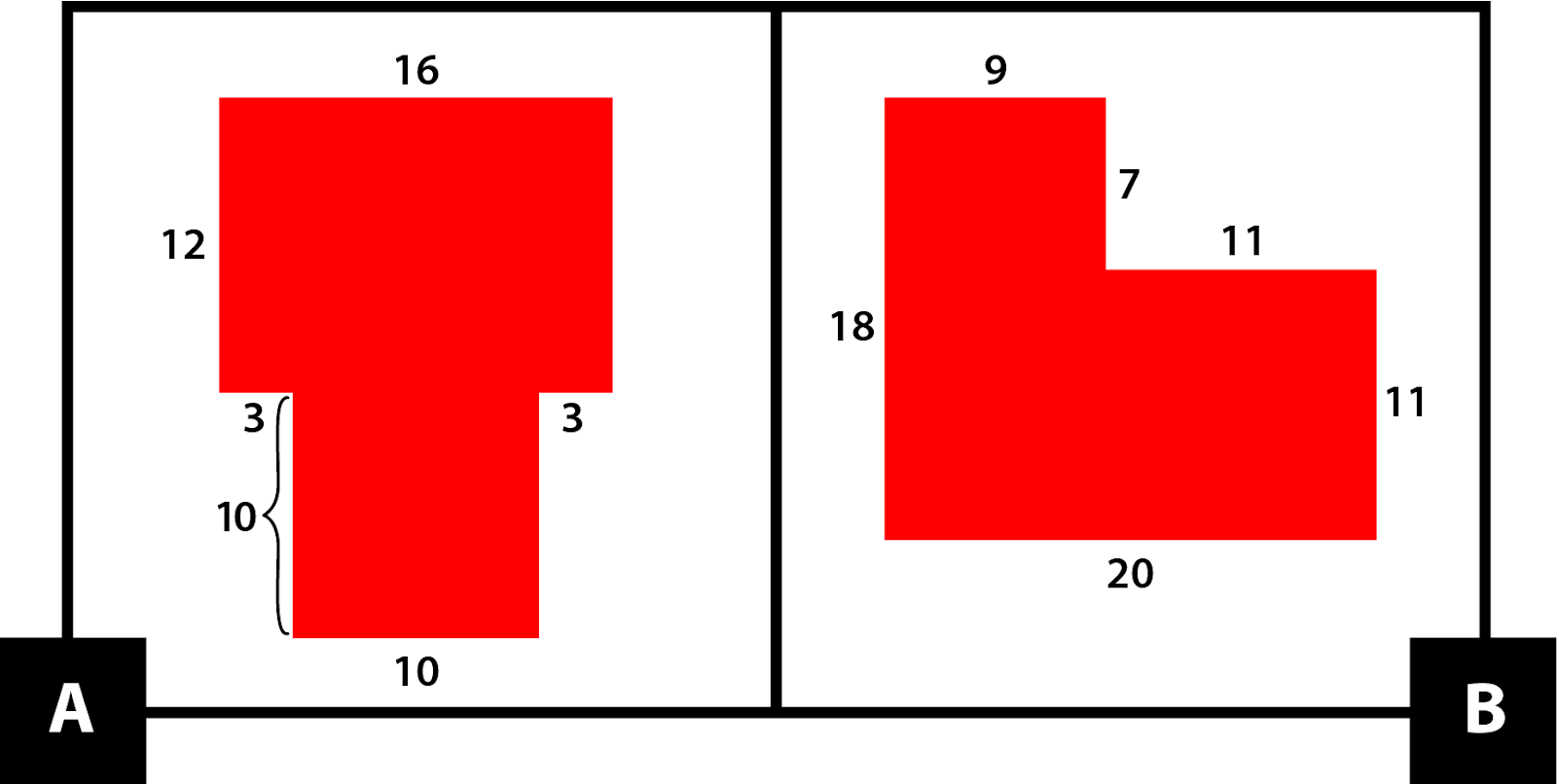A: An 8-sided figure made from 2 quadrilaterals. The top part is 12 by 16. The bottom part is 10 by 10. The dimensions are 16, 12, 3, 10, 10, 10, 3, and 12. B: A 6-sided figure made from 2 quadrilaterals. The left part is 9 by 18. The right part is 11 by 11. The dimensions are 9, 7, 11, 11, 20, and 18.