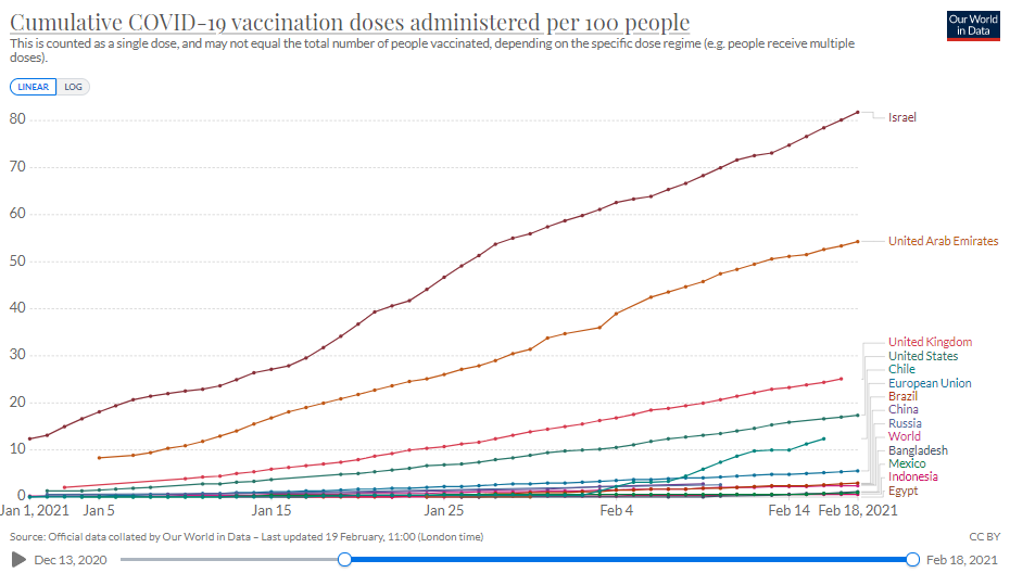 Vaccination progress in Egypt