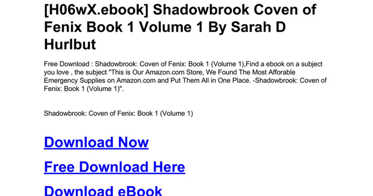 Shadowbrook Coven Of Fenix Book 1 Volume 1c Google Drive