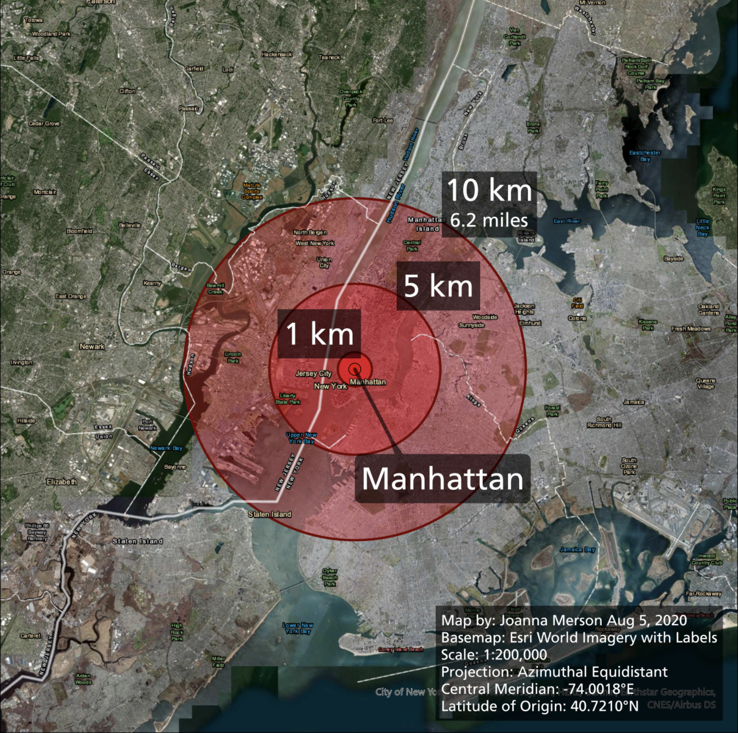 Screenshot of a map visualization by Joanna Merson made on August 5 2020, with a basemap from esri World Imagery using a scale 1:200,000 and the Azimuthal Equidistant projection. Map is centered over New York City with an epicenter of Manhattan labeled and circle radii of 1km, 5km, and 10km clearly labeled.