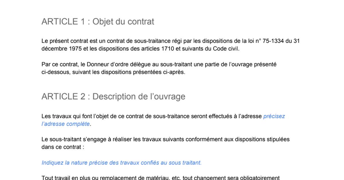 Exemple De Contrat De Sous Traitance 4 Pdf Google Drive