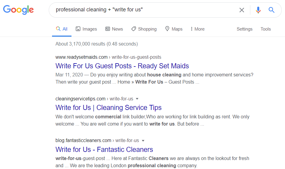 Search String for Finding Websites That Accept Guest Posts