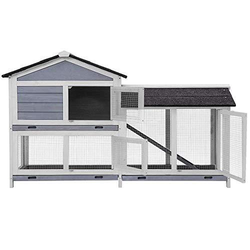 Peciafy Large Wooden Outdoor Indoor Roof Waterproof Bunny Hutch Rabbit Cage Guinea Pig Coop Wood Pet...