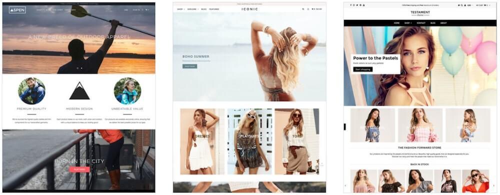 Примеры некоторых из самых популярных премиальных тем Shopify