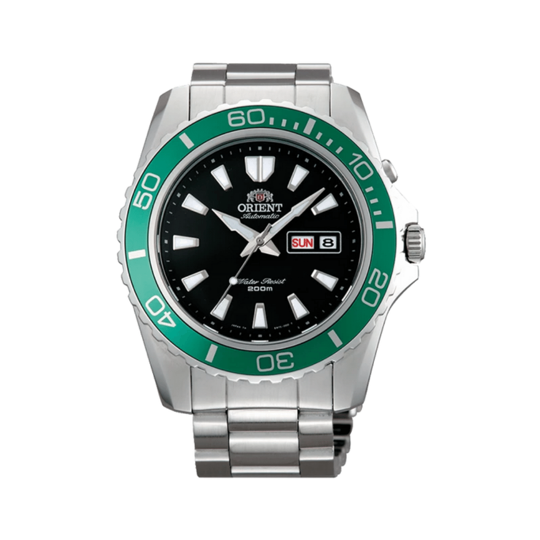 Orient dive watch with a silver steel bracelet and case. Featuring a black dial and green bezel.