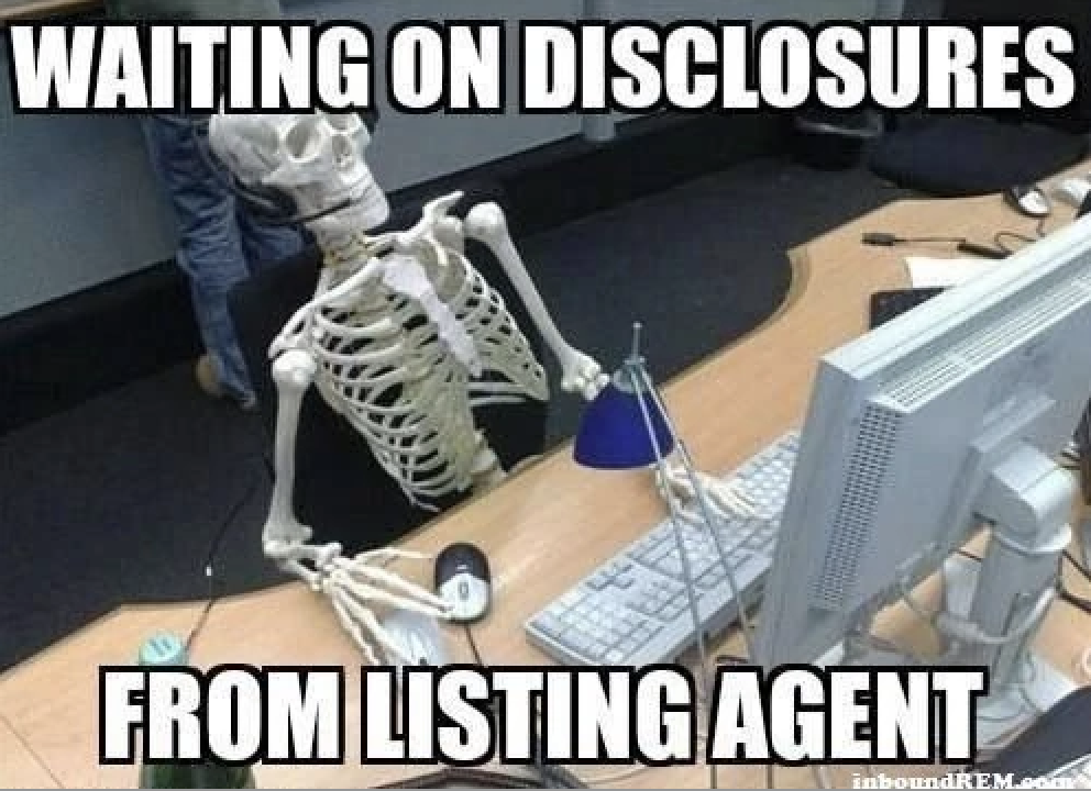 Waiting on disclosures for real estate memes