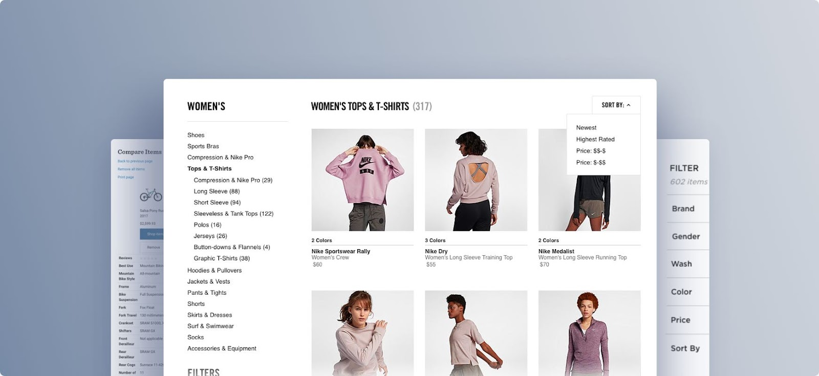 Example of an ecommerce store with a neat taxonomy structure and clear product information