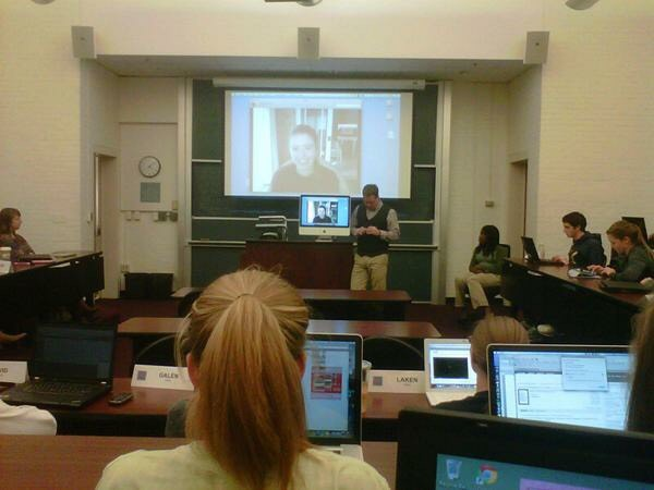 "Skyping into a UNC-Chapel Hill ""Personal Branding"" lecture."