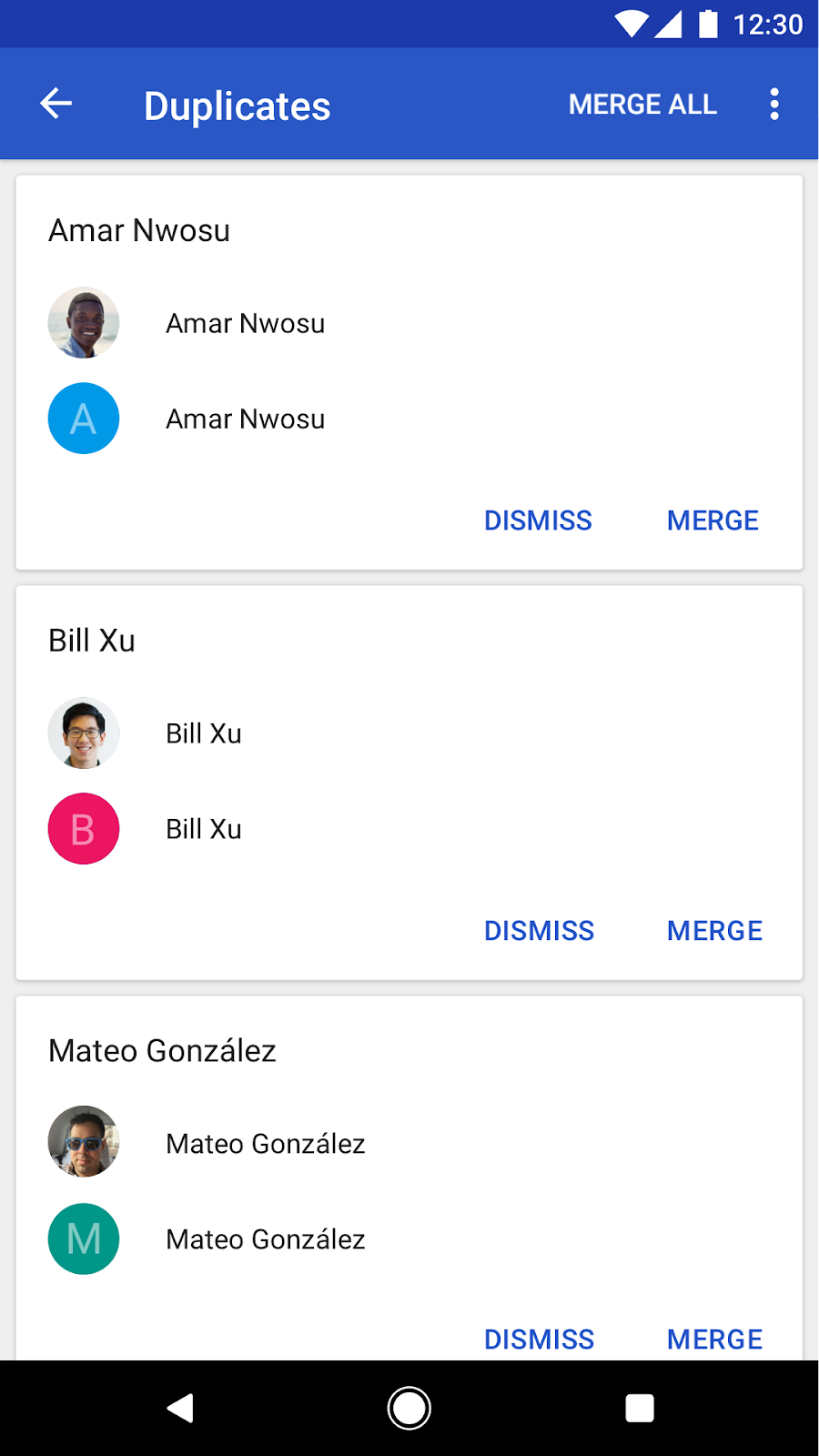 Contacts Android app - new features - screenshot of merged duplicates