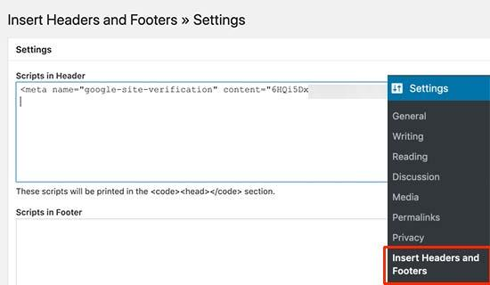 Add your verification code in the header section