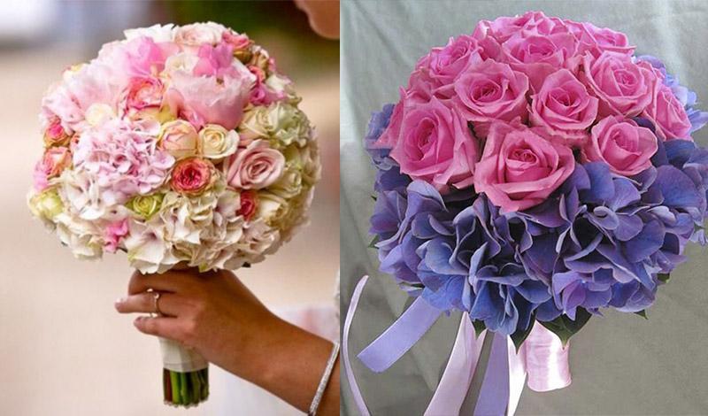 Свадебные букеты с гортензиями и розами