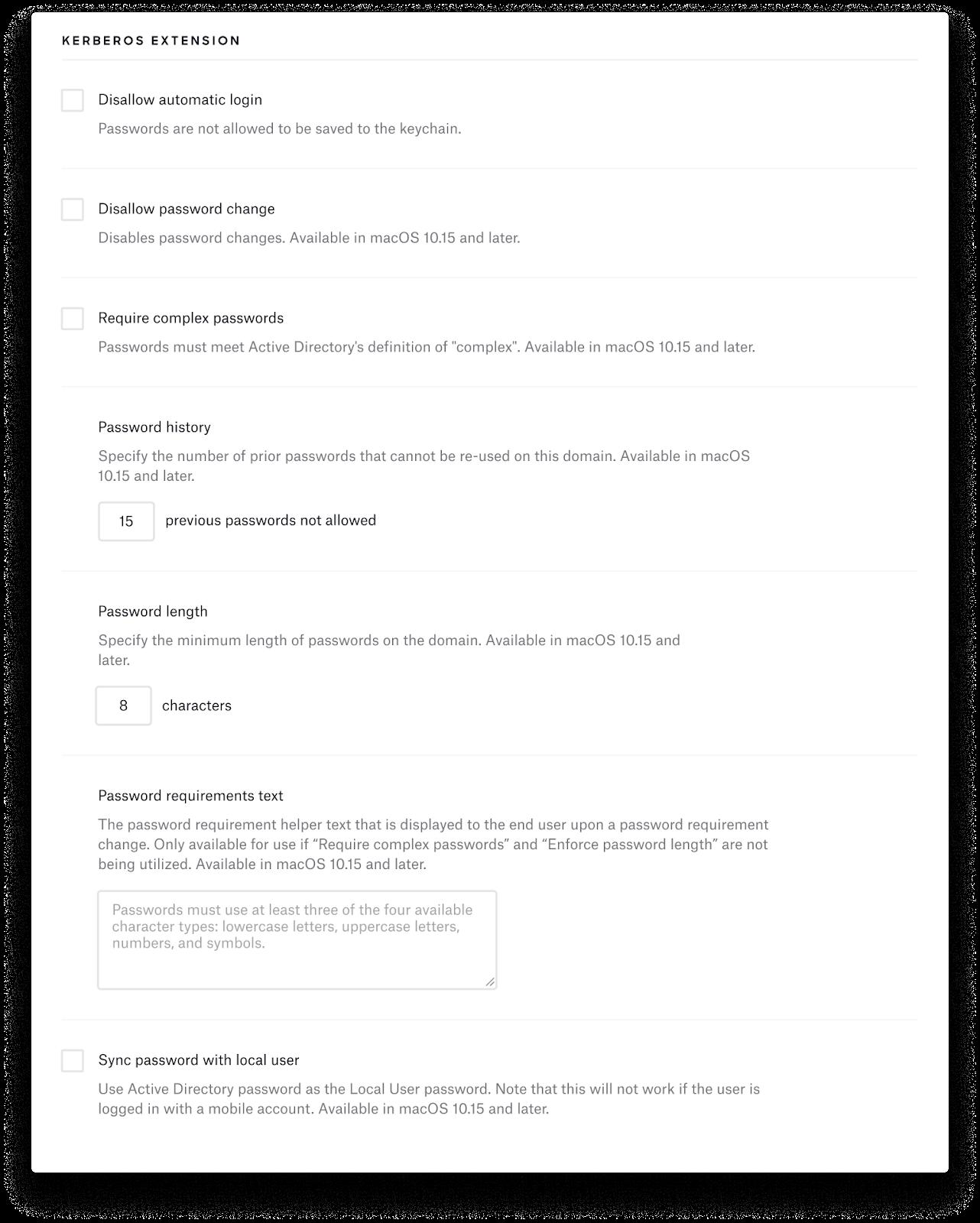 Kerberos SSO extension profile