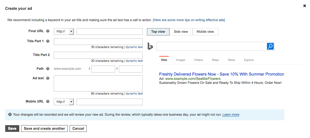 Screenshot showing how to create an ad in Bing