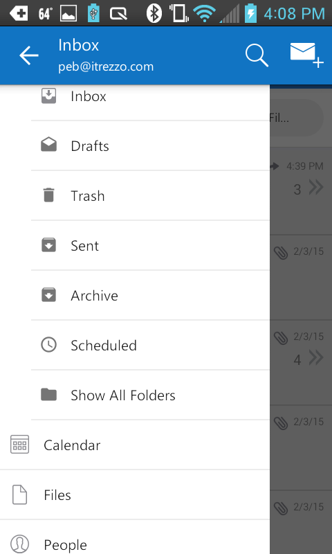 Outlook app screen