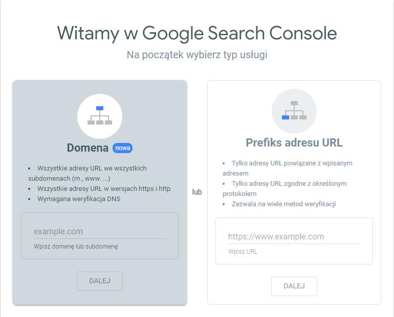 Google Search Console (GSC) - strona startowa