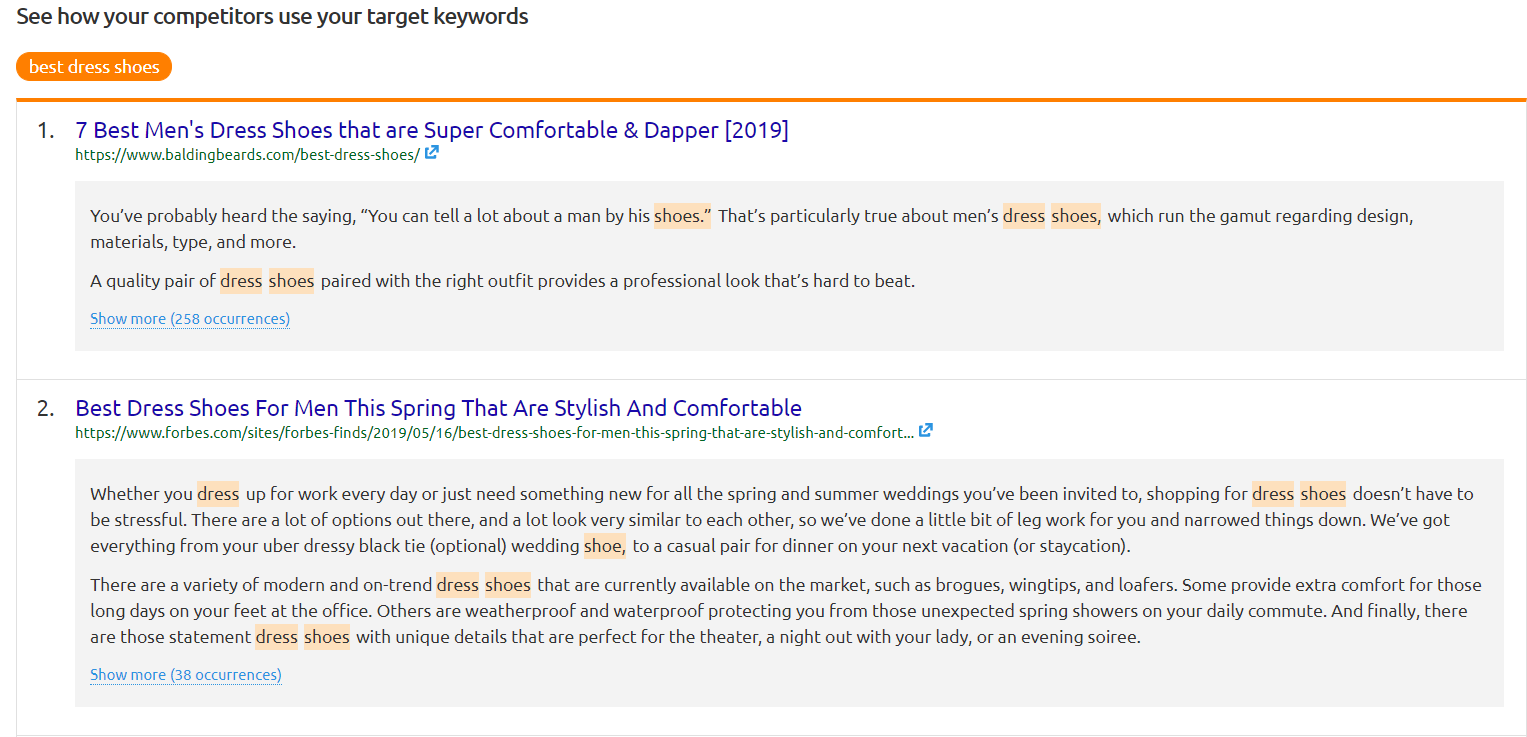 Screenshot of SEMRush indicating how competitors use the target keywords in their content.