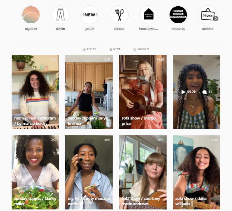 IGTV feed of Madewell showing different IGTV series