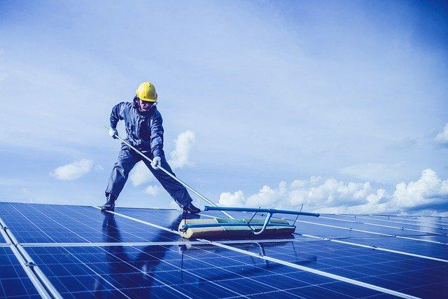 Man, Solar Panel, Rooftop, Cleaning, Work, Job