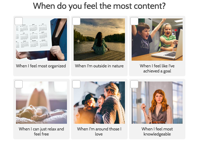 question about when do you feel the most content with images