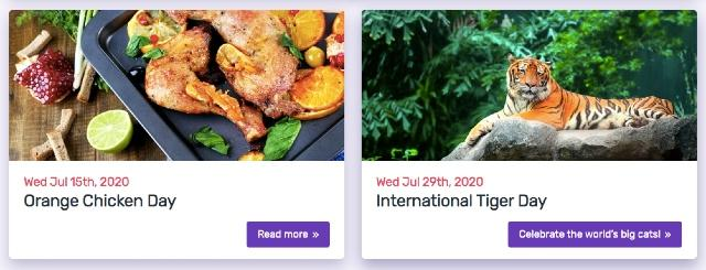 Zrzut ekranu strony internetowej poświęconej specjalnym dniom w roku. Specjalne okazje są świetnym źródłem informacji do edycji kalendarza publikacji.