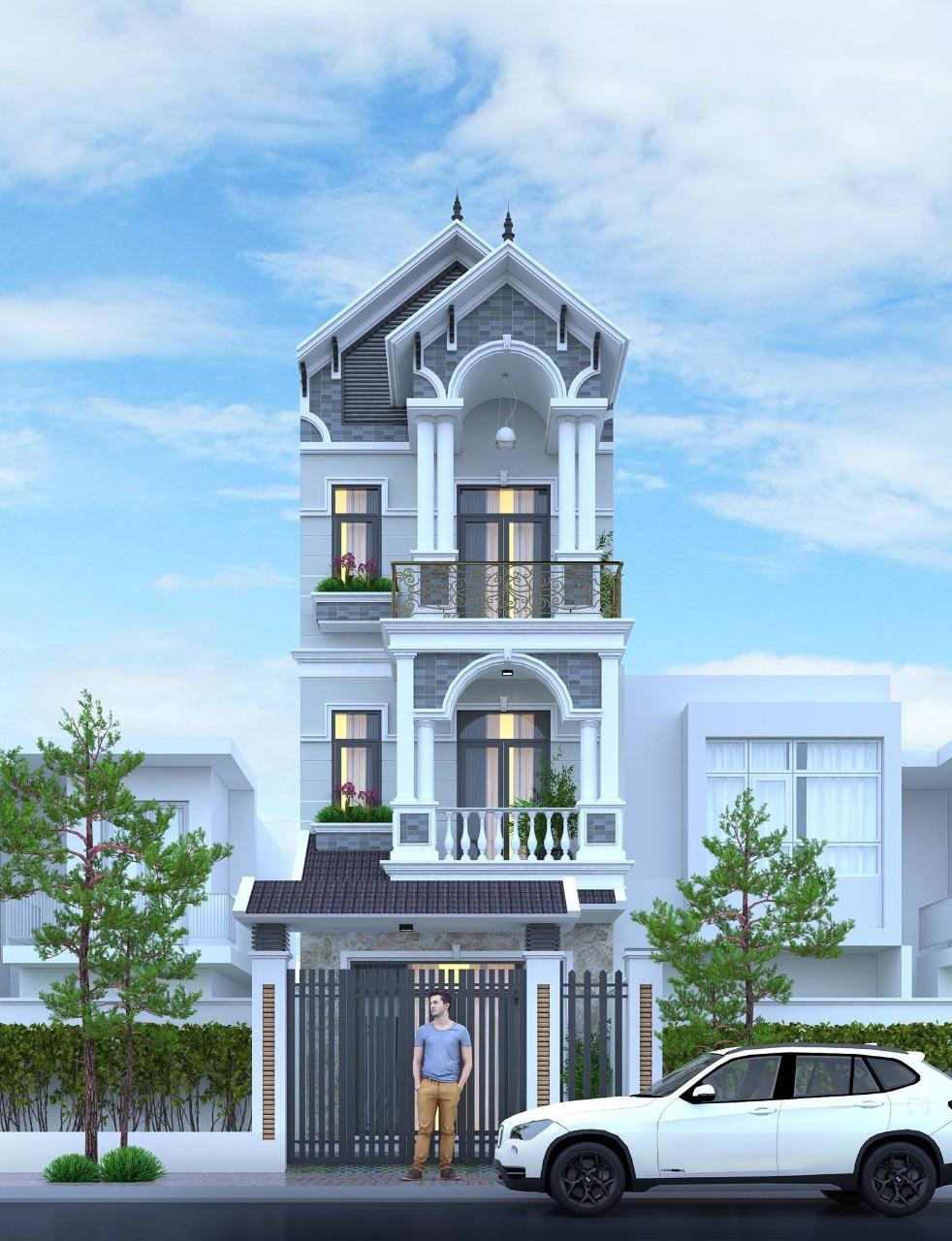 Mặt tiền thiết kế nhà phố tân cổ điển