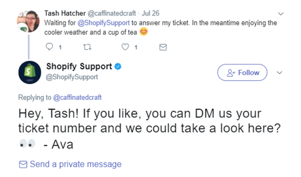 Example of routing a customer from social media to another type of customer service