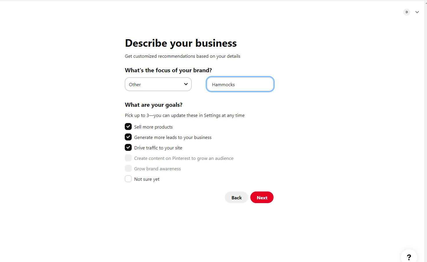 Create an account pinterest