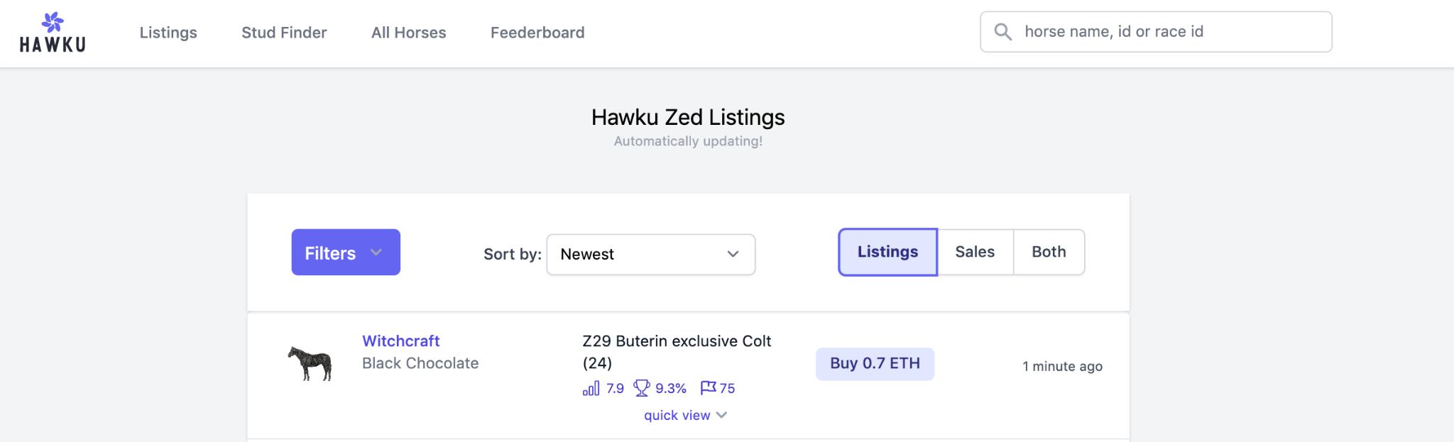 The Best ZED RUN Tools: Hawku   Analytics for ZED RUN