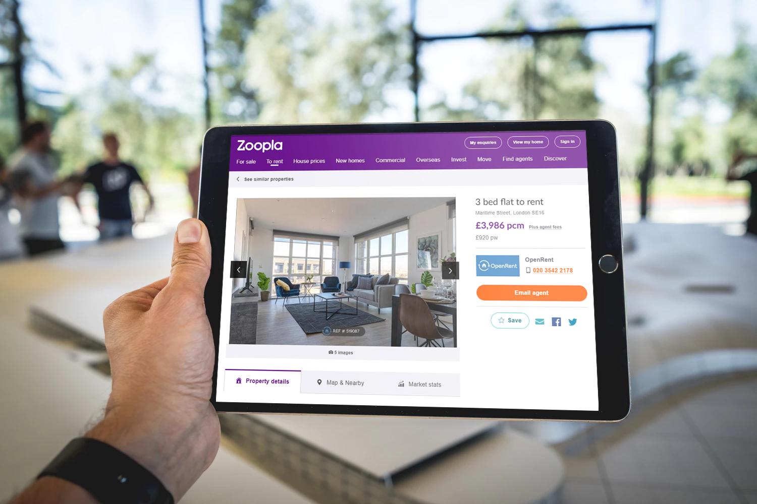 Users browsing OpenRent properties on Rightmove on a tablet device