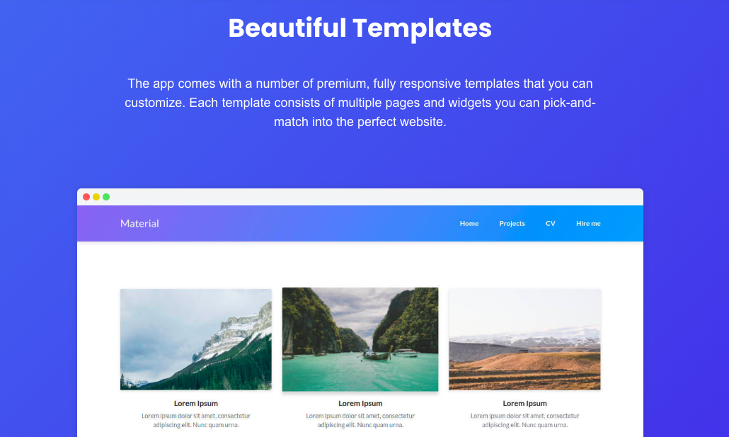 Screenshot of Bootstrap Studio's web design templates