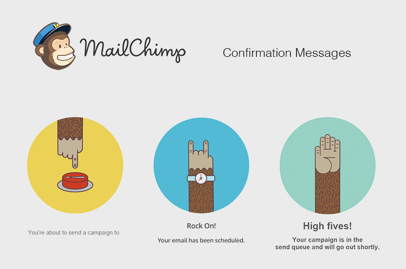 screenshot of MailChimp's mobile app, displaying confirmation messages