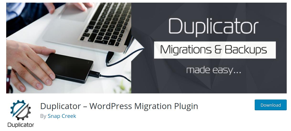 duplicator wordpress migration plugin header