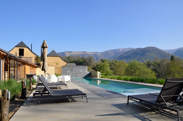 Opulent vacation rental property with an overlooking view of the mountain