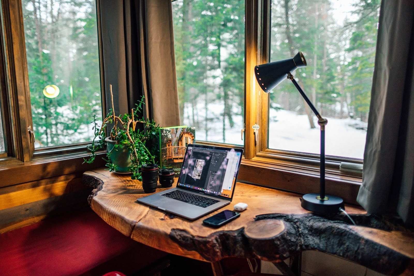 If you don't have an office while working from home, you can create a makeshift office space.