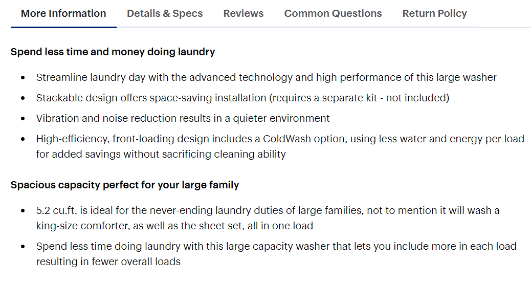 More product information like features on product page for washing machine.