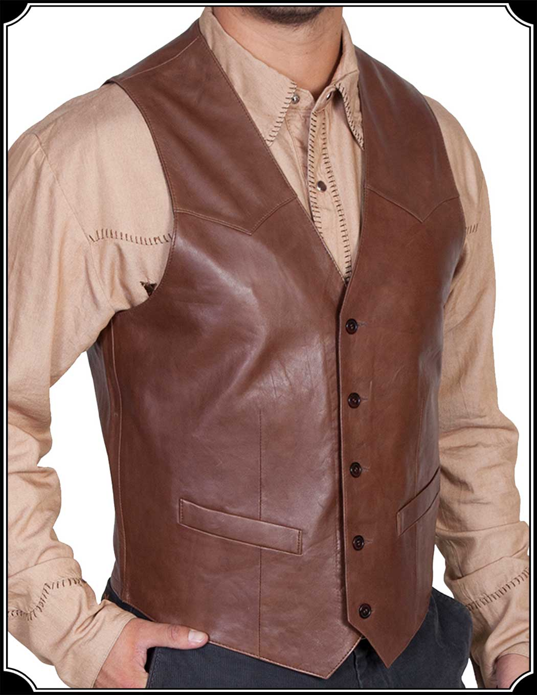 Office casual leather vest outfit