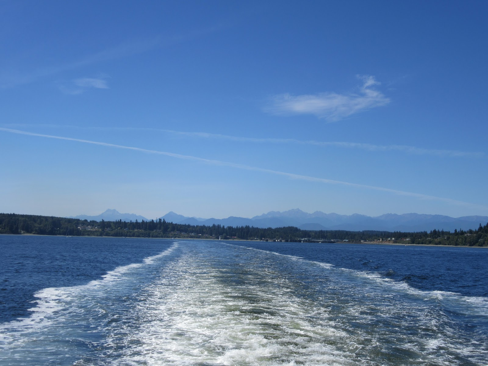Ocean and wake from ferry on way to Hurricane Ridge