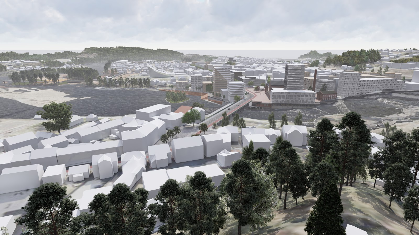 SketchUp city model of Hønefoss viewed in Lumion. Rambøll and DRMA architects.
