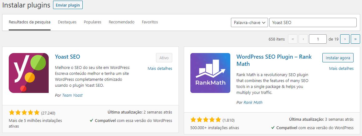 Baixar e instalar Yoast SEO no seu WordPress