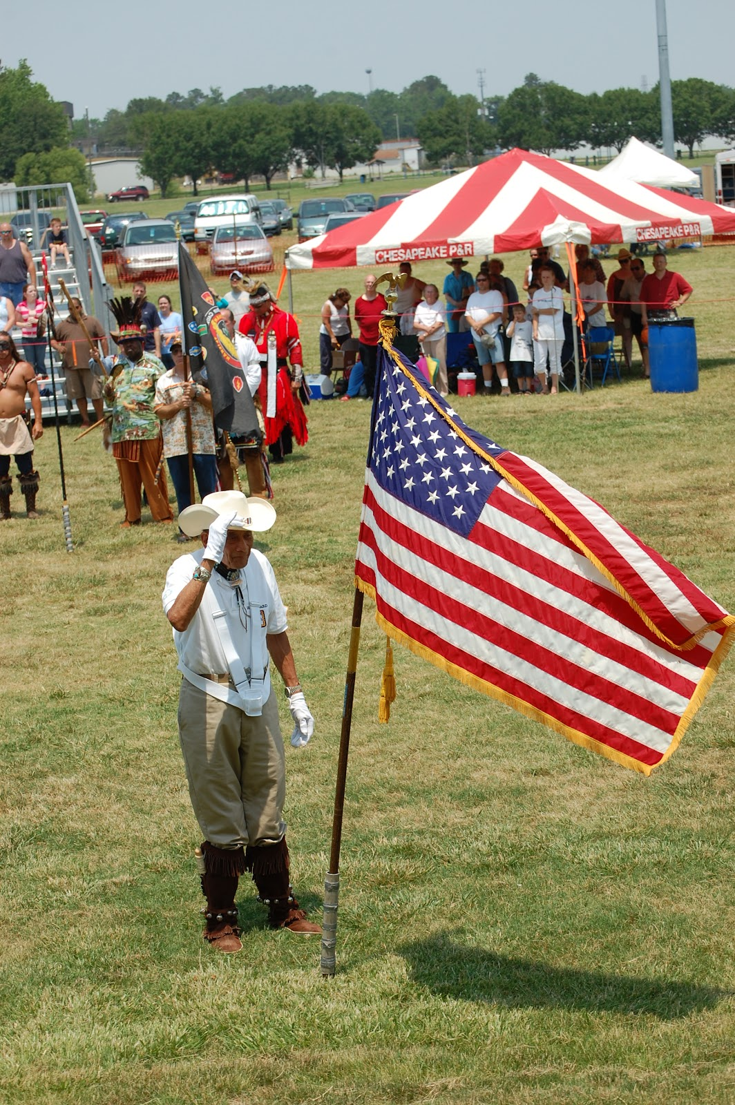 An elder Native Veteran in Virginia saluted the flag - Photo: Vincent Schilling