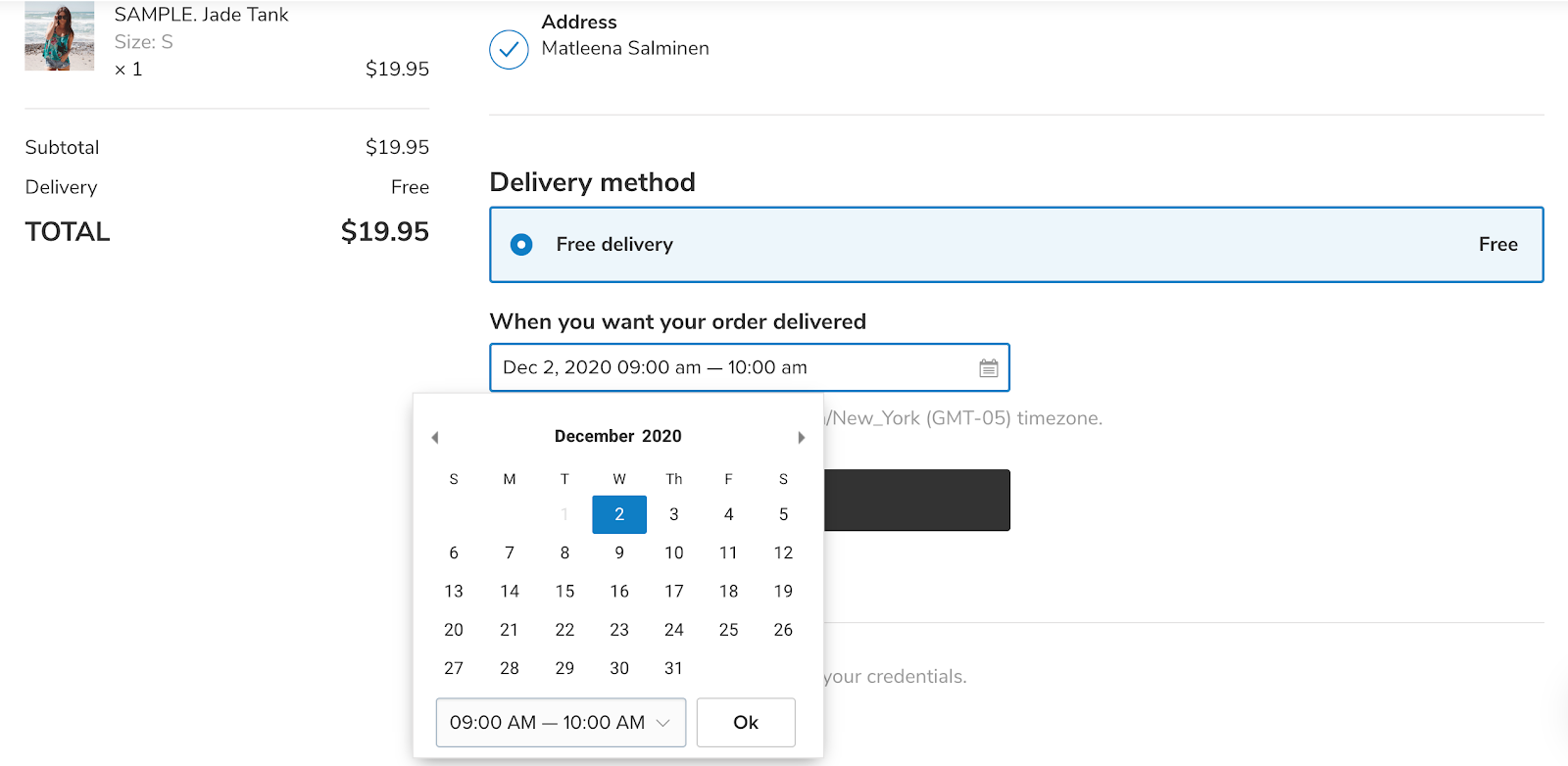Función de selector de tiempo de entrega de eCommerce de Zyro
