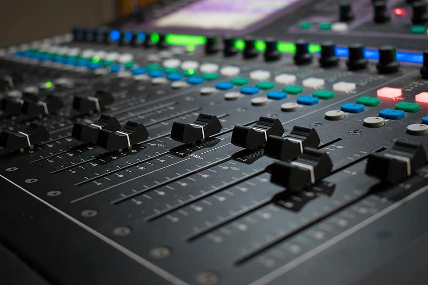 mixer, music, audio, studio, sound studio, sound mixer, music studio, slider, controller, dj, music system